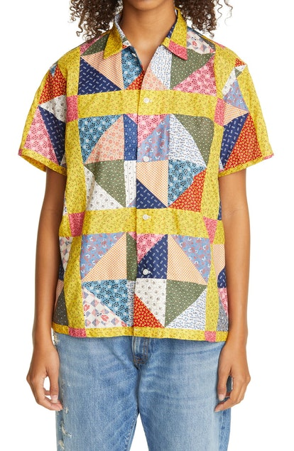 One of a Kind Flying Geese Patchwork Bowling Shirt