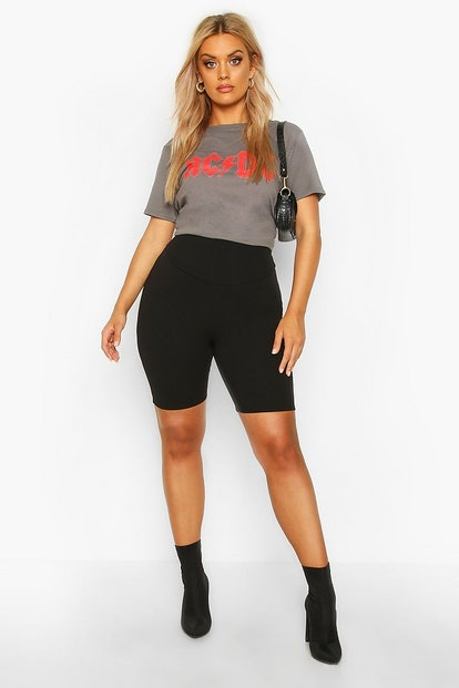 boohoo Plus High Waist Sculpt Biker Shorts