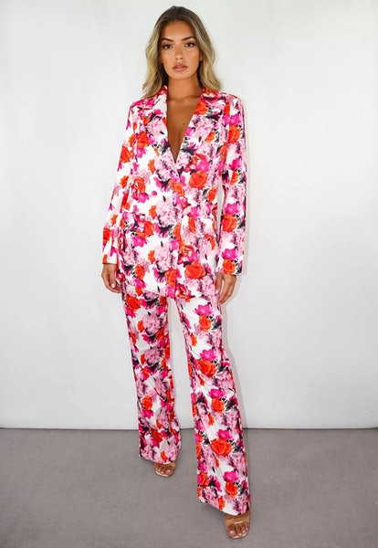 Missguided Pink Floral Print Co Ord Seam Detail Straight Leg Trousers