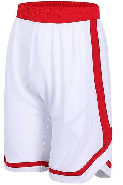 PTSports White & Red Basketball Shorts