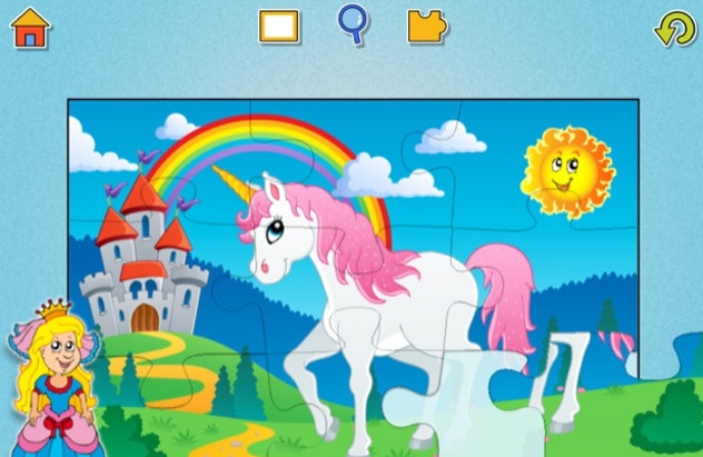 Screenshot of puzzle game for kids, puzzle has a unicorn in front of a castle