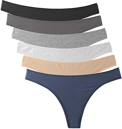ELACUCOS Breathable Cotton Thongs (6-Pack)
