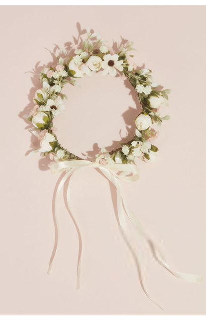 David's Bridal Faux Floral Wreath Flower Crown with Bow