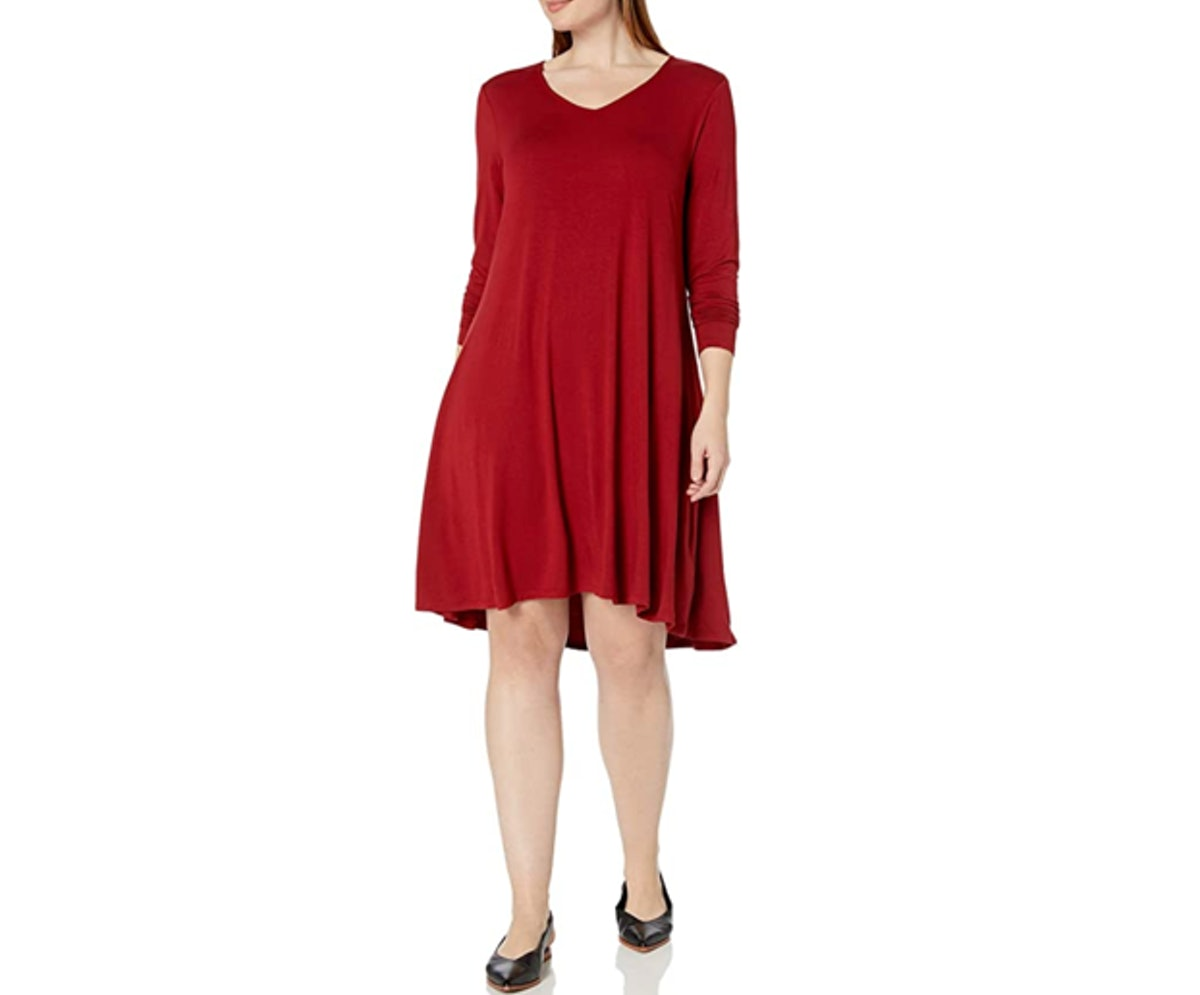 Daily Ritual Long-Sleeve V-Neck Dress