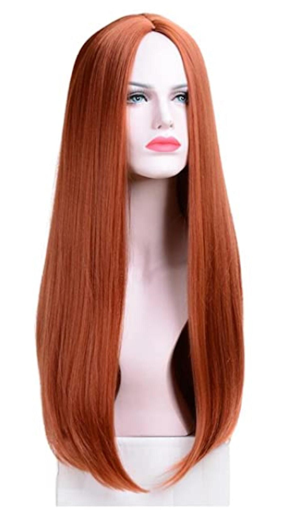 BERON 26'' Long Straight Dark Orange Wig