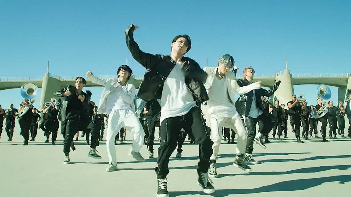"""An idea for BTS 2020 Halloween costumes is their """"ON"""" outfits, as seen in their choreography video for the song."""