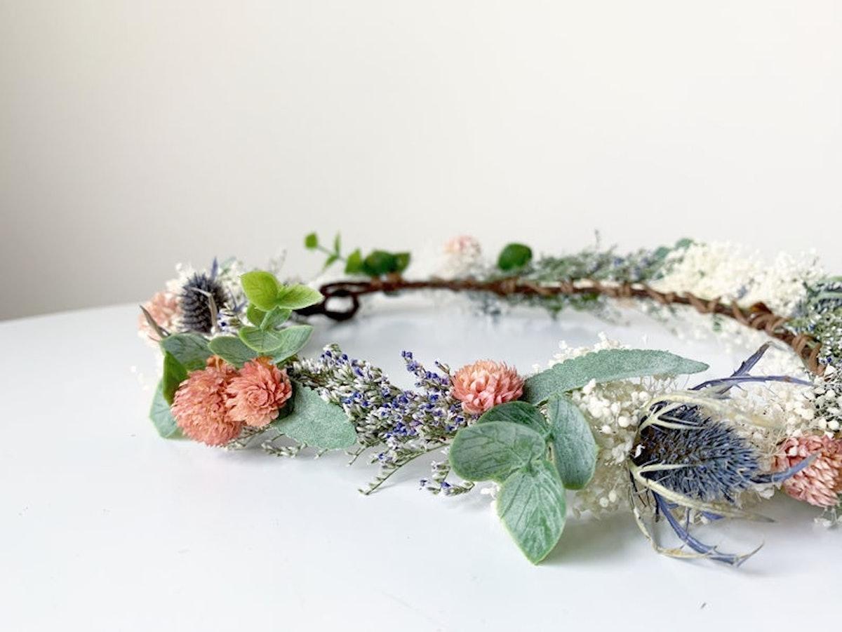 RoseAvenueFloral Sage Greenery, Thistle and Blush Gumphrena Crown