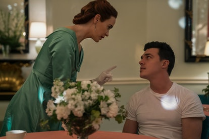 Sarah Paulson as Mildred and Finn Wittrock as Edmund on Ratched via the Netflix press site.