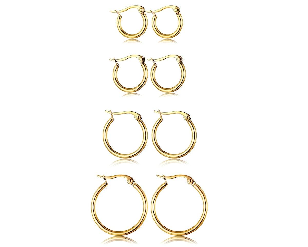 ORAZIO Stainless Steel Hoop Earrings (4-Pairs)