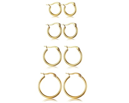 ORAZIO Stainless Steel Hoop Earrings (4-Pairs)