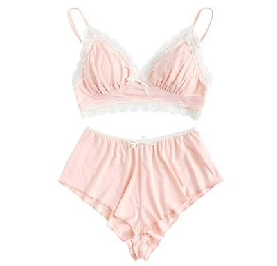 SweatyRocks Lace Trim Underwear Set