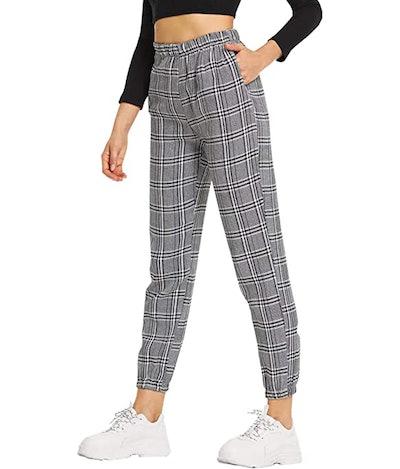 SweatyRocks Striped Plaid Long Pants