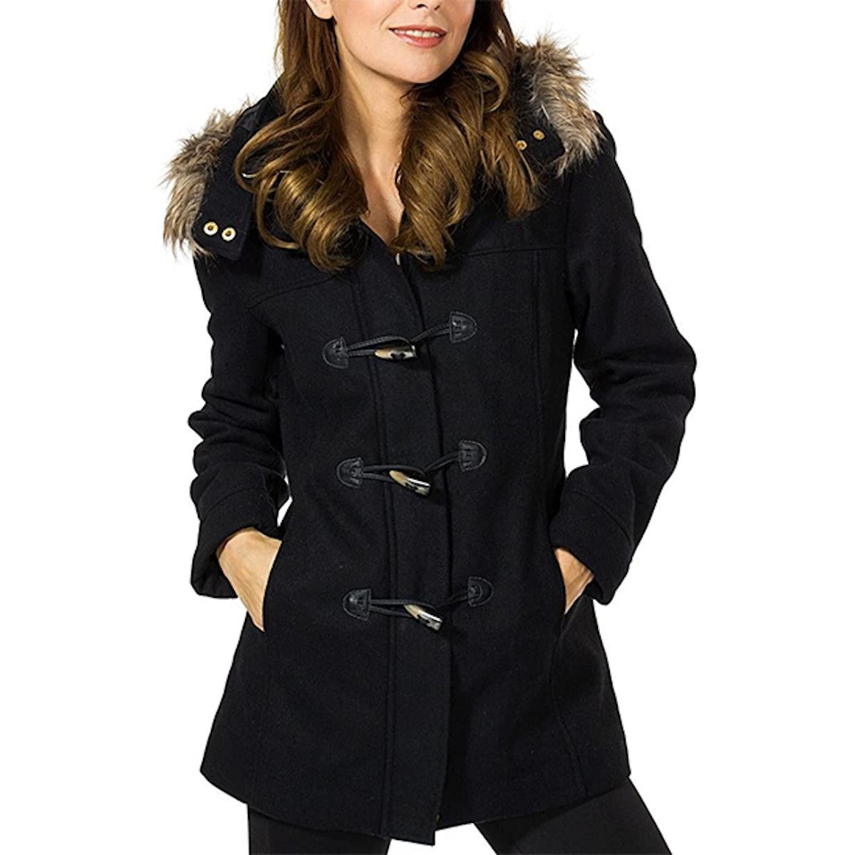Alpine Swiss Duffy Fur Trim Hooded Wool Parka