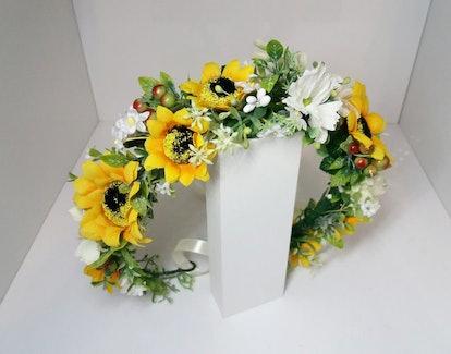 valerienicoleaccesso Sunflower crown, Yellow Flower crown
