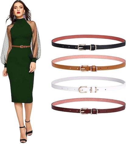 SANSTHS Skinny Leather Belts (4-Pack)