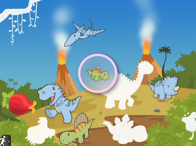 Dinosaur puzzle from toddler app, Tozzle