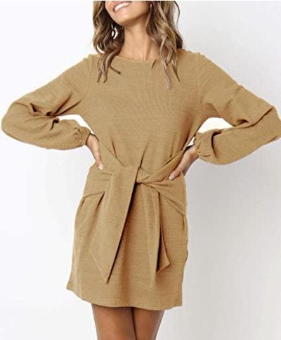 R.Vivimos Autumn Tie Waist Sweater Dress