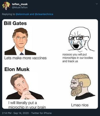 A meme making fun of Elon Musk fans.
