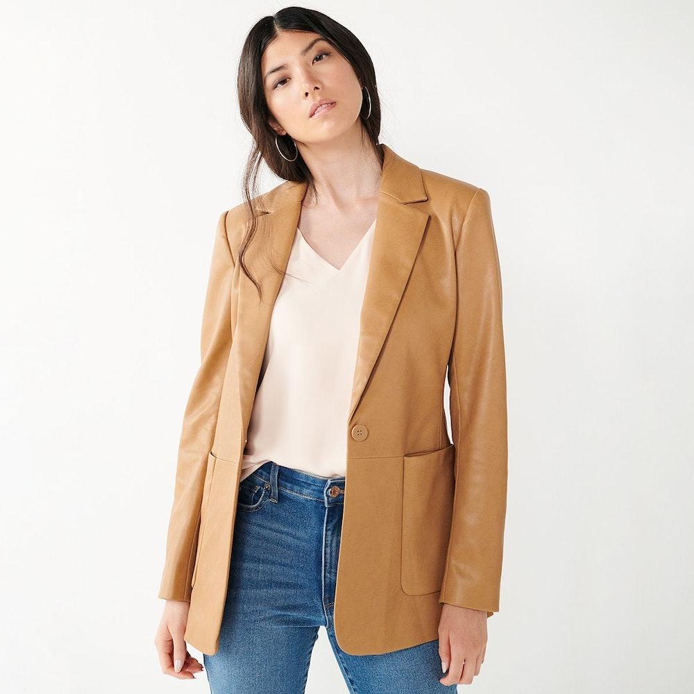 Faux-Leather Blazer