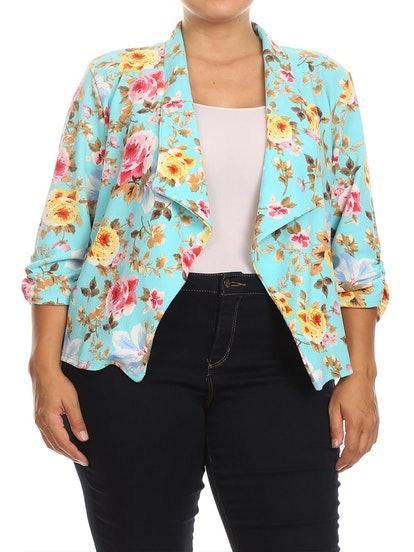 Moa Collection Women's Plus Size Print Floral 3/4 Sleeve Loose Fit Open Front Blazer Jacket