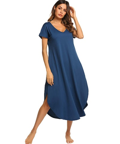 Ekouaer Casual V Neck Nightgown