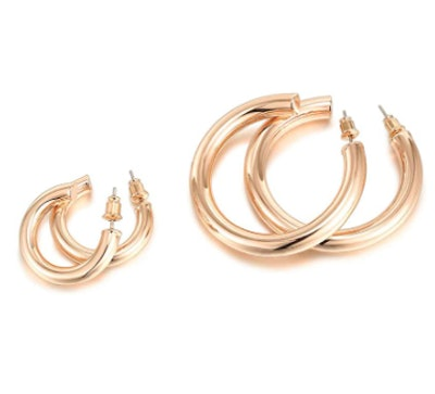 PAVOI 14K Gold Colored Hoop Earrings