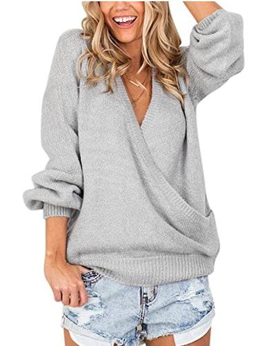 LookbookStore Faux Wrap Knit Sweater