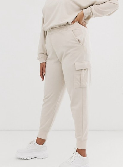 Missguided Plus Sweatpants with Cargo Pockets in Beige
