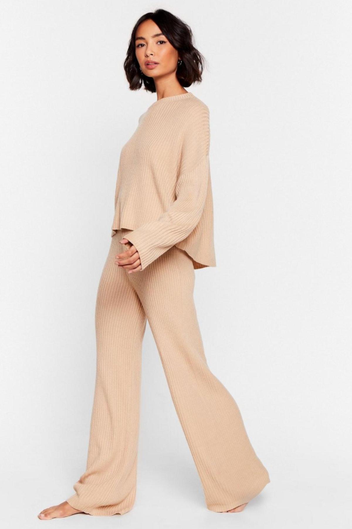 Nasty Gal Knit Alone Sweater and Wide-Leg Lounge Set