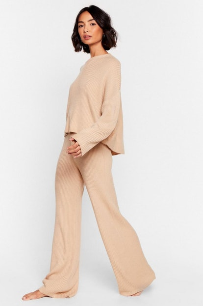 Nasty Gal Knit Alone Sweater and Wide-Leg Lounge Set