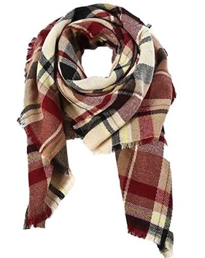 American Trends Tassel Plaid Blanket Scarf