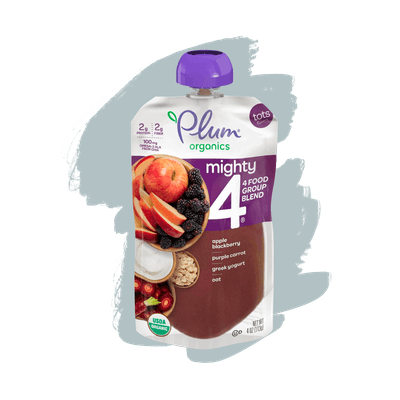 Plum Organics Mighty 4 Organic Toddler Food, Apple, Blackberry, Purple Carrot, Greek Yogurt & Oat, 4oz