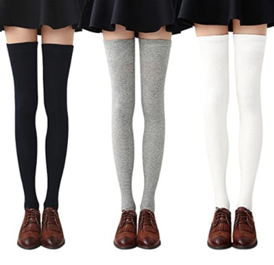Chalier Cotton Thigh High Socks