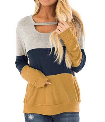 Minclouse Color Block Cutout Sweatshirt