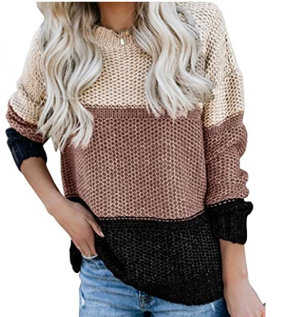 Ybenlow Oversized Color Block Sweater