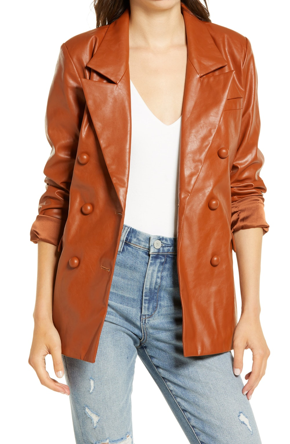The Nightingale Faux Leather Blazer