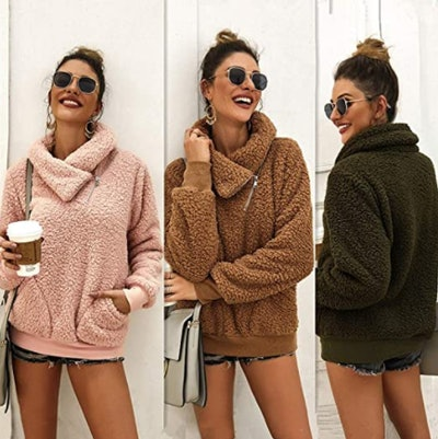 KIRUNDO Faux Shearling Pullover Sweatshirt
