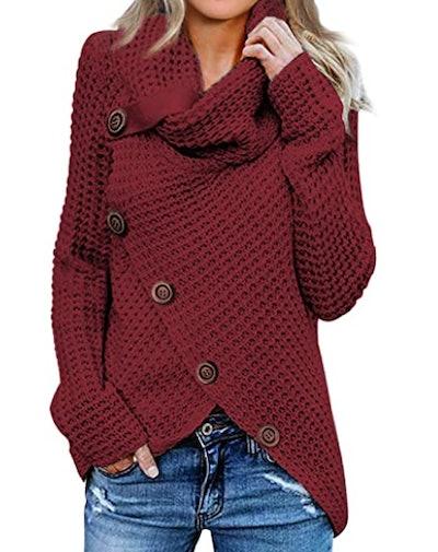 Itsmode Asymmetric Hem Sweater