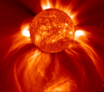 A coronal mass ejection captured in 2002, showing over a billion tons of matter being sent out into space.