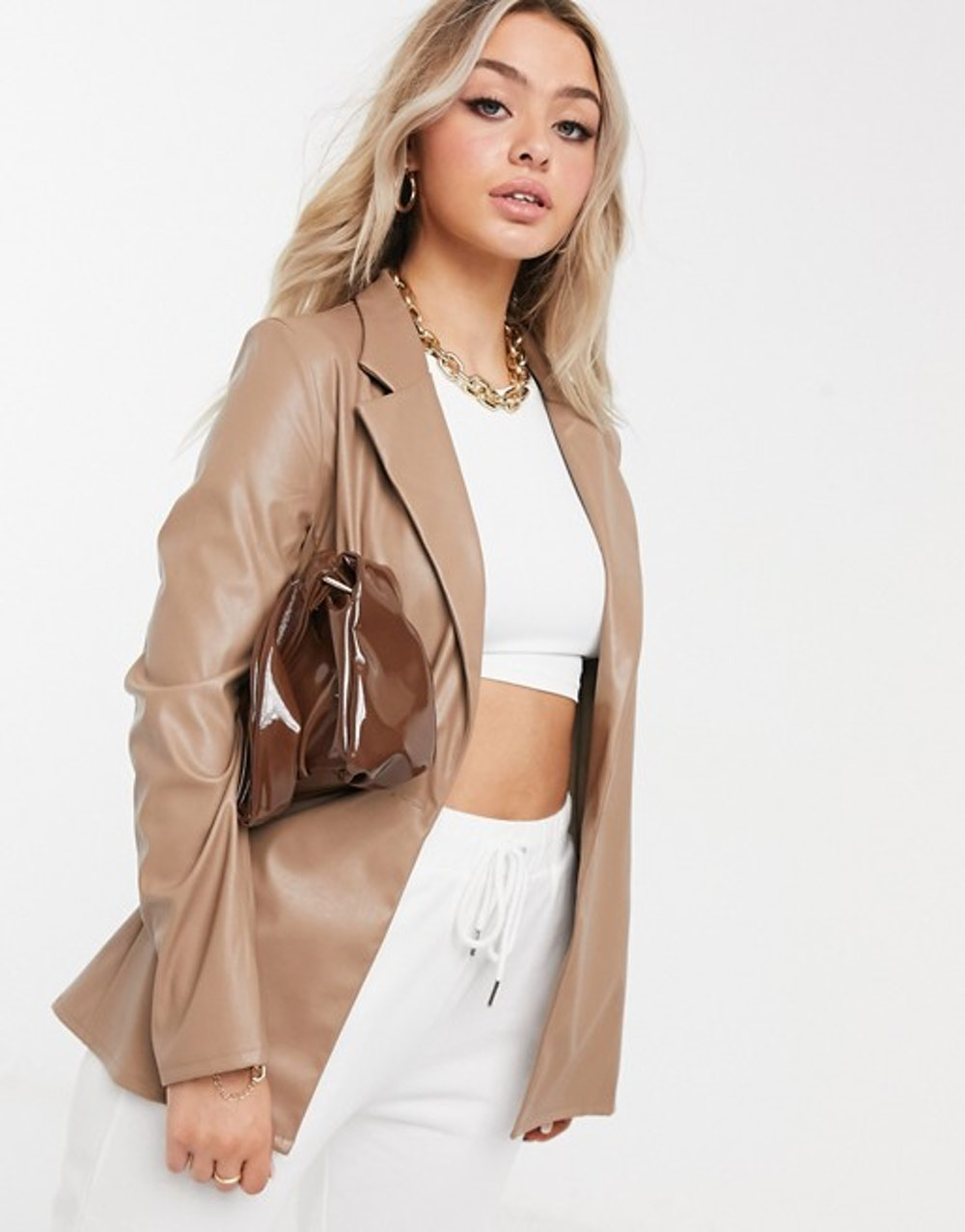 Jersey Leather Look Dad Suit Blazer in Tan