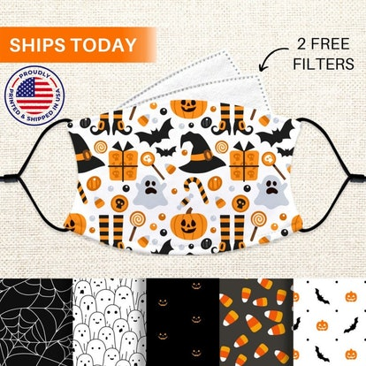 ArtlyMasks Halloween Face Mask, Reusable and Washable Face Mask with Filter Pocket and 2 Filters