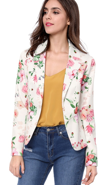 Unique Bargains Women's Floral Notched Lapel Open Front Blazer Jacket