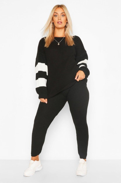 Boohoo Plus Balloon Sleeve Stripe Knitted Lounge Set