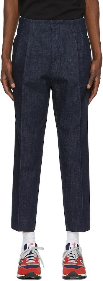 Ami Indigo Pleated Trousers