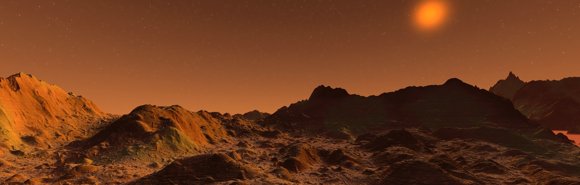 Rendered illustration of the surface of Mars.