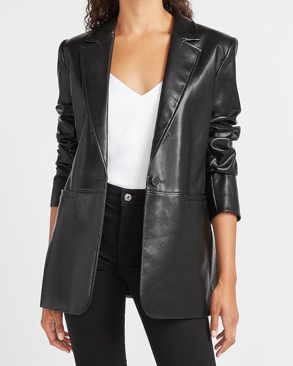Vegan Leather One Button Long Sleeve Blazer