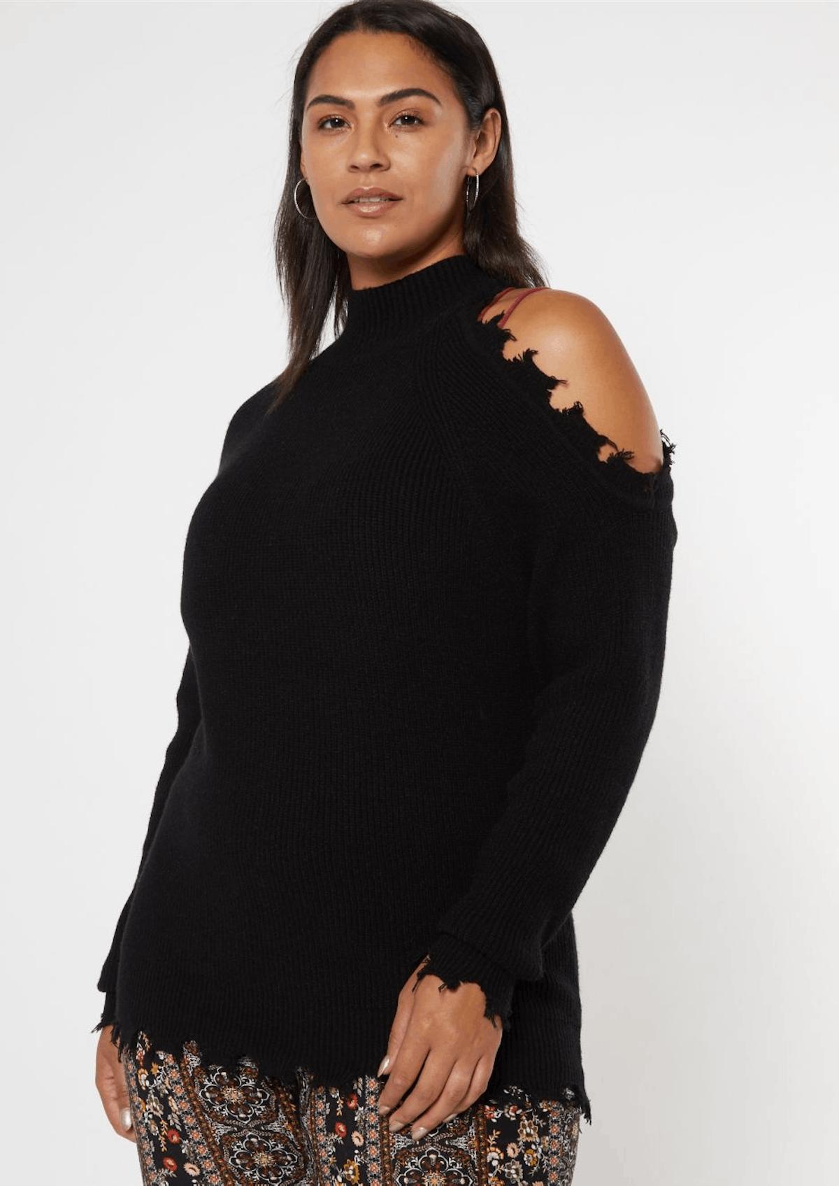 Rue21 Plus Black Distressed Mock Neck Cold Shoulder Sweater
