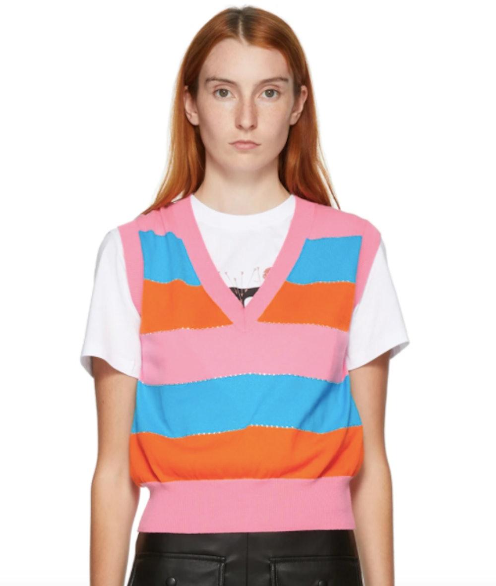 Pink & Orange Stripe Sweater Vest