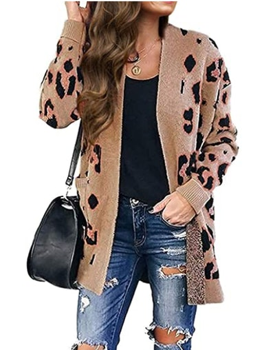 ZESICA Leopard Print Knitted Sweater