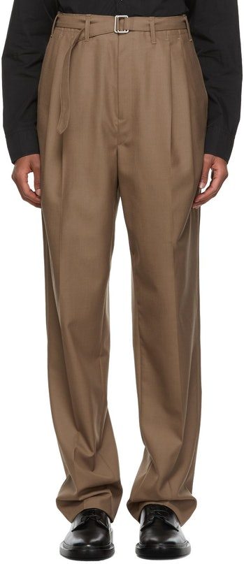 Lemaire Brown Belted Pleats Trousers